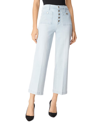Joan High-Rise Cropped Wide-Leg Jeans w/ Patch Pockets