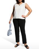 Caroline Rose Plus Size Sheer Striped Ruched-Collar Jacket