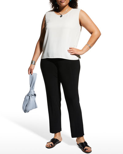 Plus Size Crepe Suzette Scoop-Neck Tank with Side Slits