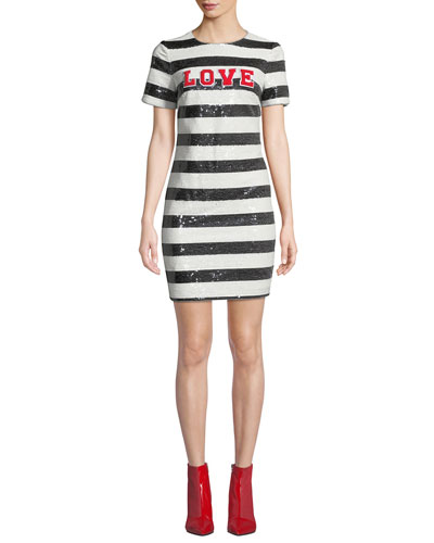 Striped Sequin Short-Sleeve Cocktail Dress with Love Applique