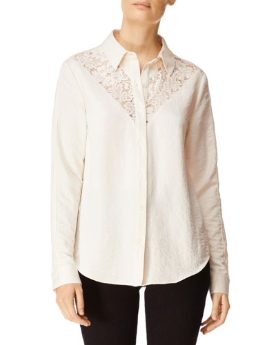 8d3770b4 Quick Look. J Brand · Lula Button-Front Long-Sleeve Lace Inset Shirt
