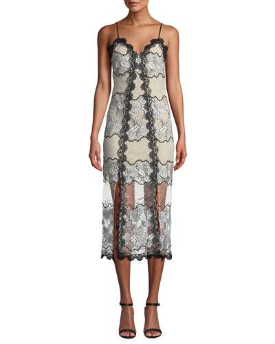 Villa Spaghetti-Strap V-Neck Floral Lace Midi Dress w/ Sheer Hem