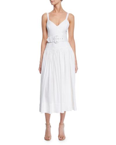 Gaia Sleeveless V-Neck Drop-Waist Midi Dress w/ Belt