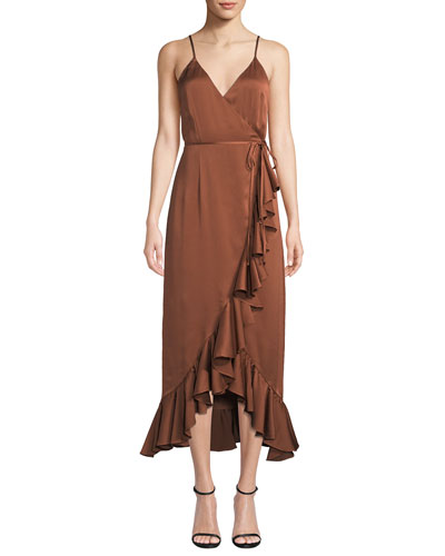 Oro Sleeveless Surplice Satin Wrap Dress w/ Ruffle Trim & Hem