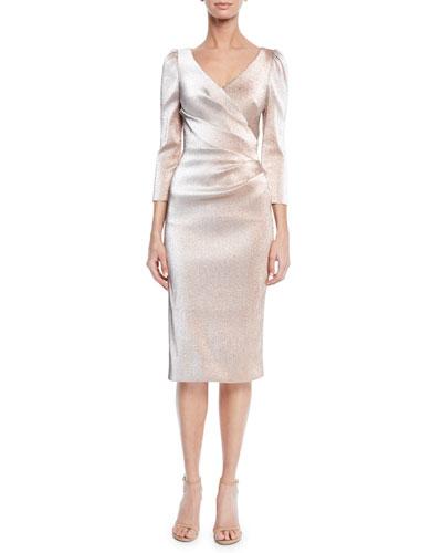 V-Neck 3/4-Sleeve Stretch Lurex® Faux Wrap Cocktail Dress