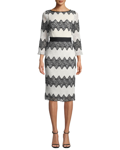 Tadashi Shoji Bateau-Neck 3/4-Sleeve Colorblock Lace Dress