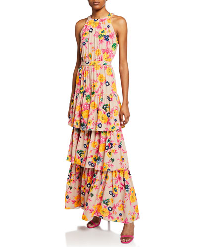 f7365e029f7 Quick Look. MSGM · Floral-Print Halter Ruffle Maxi Dress