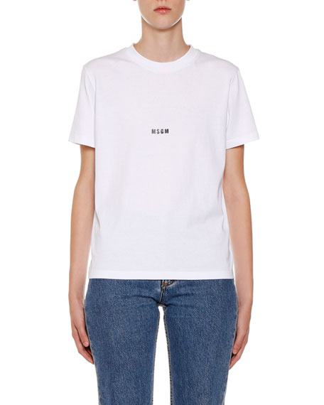 MSGM Crewneck Short-Sleeve Cotton Logo T-Shirt