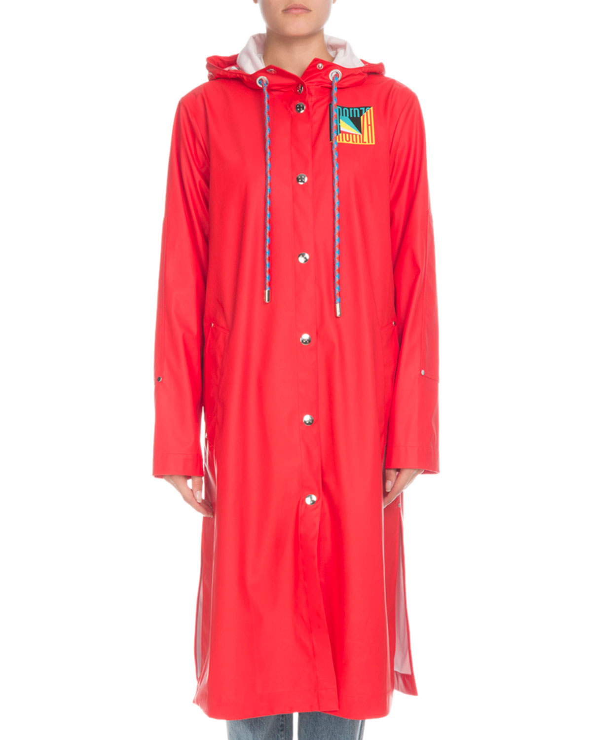 PSWL Hooded Snap-Front Long Raincoat in Red