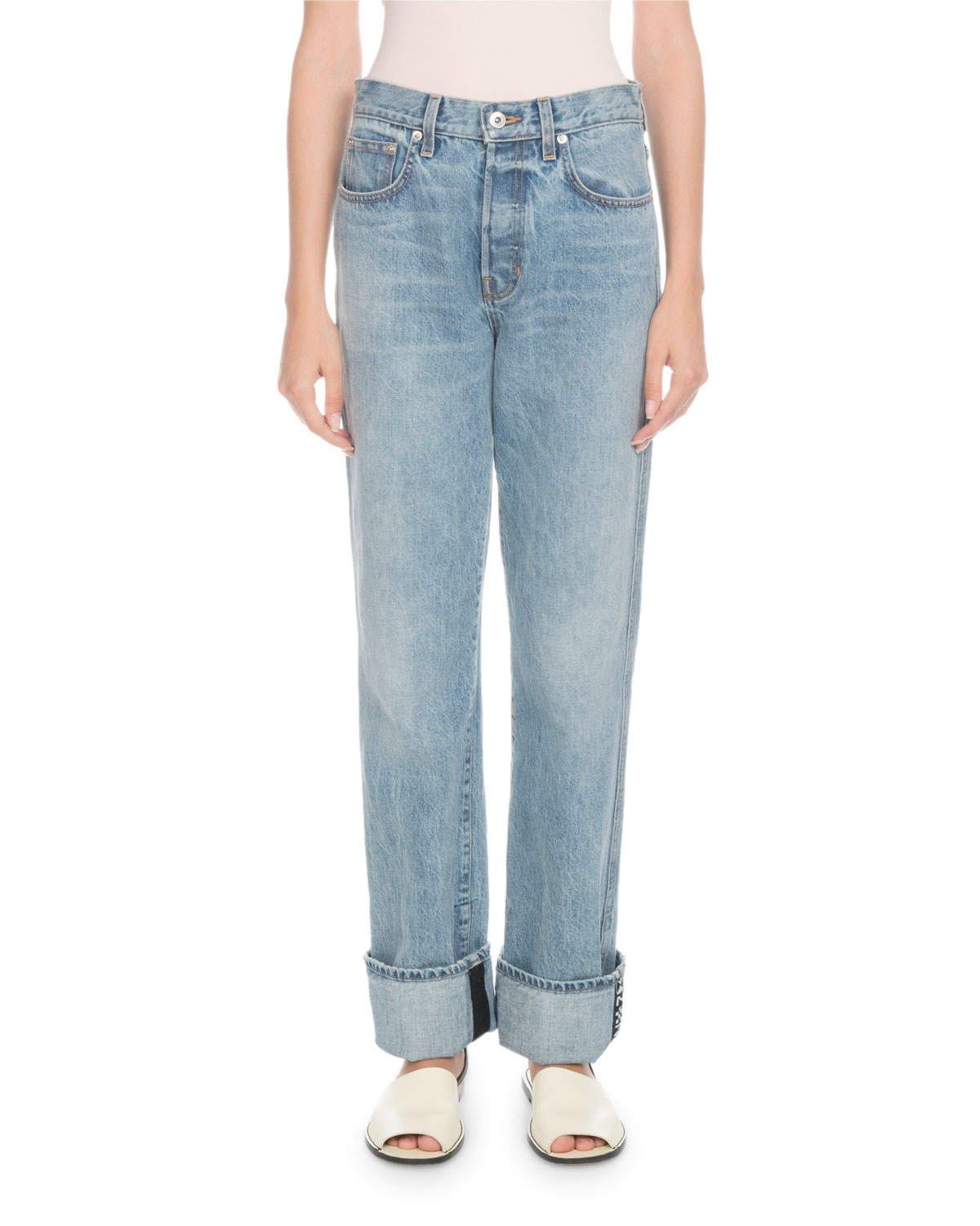 PSWL Rigid Cuffed Stovepipe Jeans in Blue