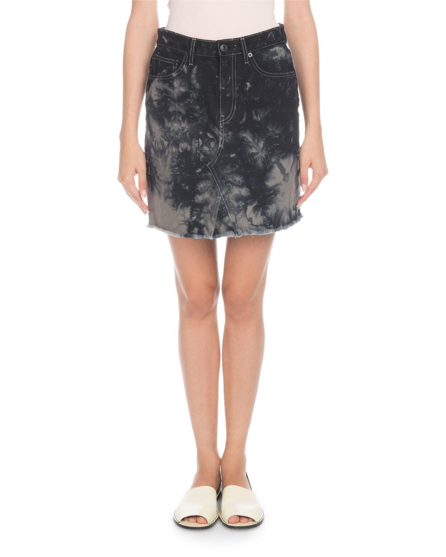 PSWL Bleached Denim Mini Skirt With Frayed Hem in Gray