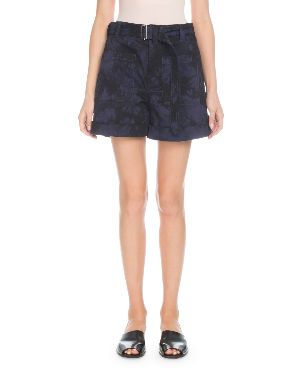PSWL Belted Slouchy Bleached Utility Shorts in Multi