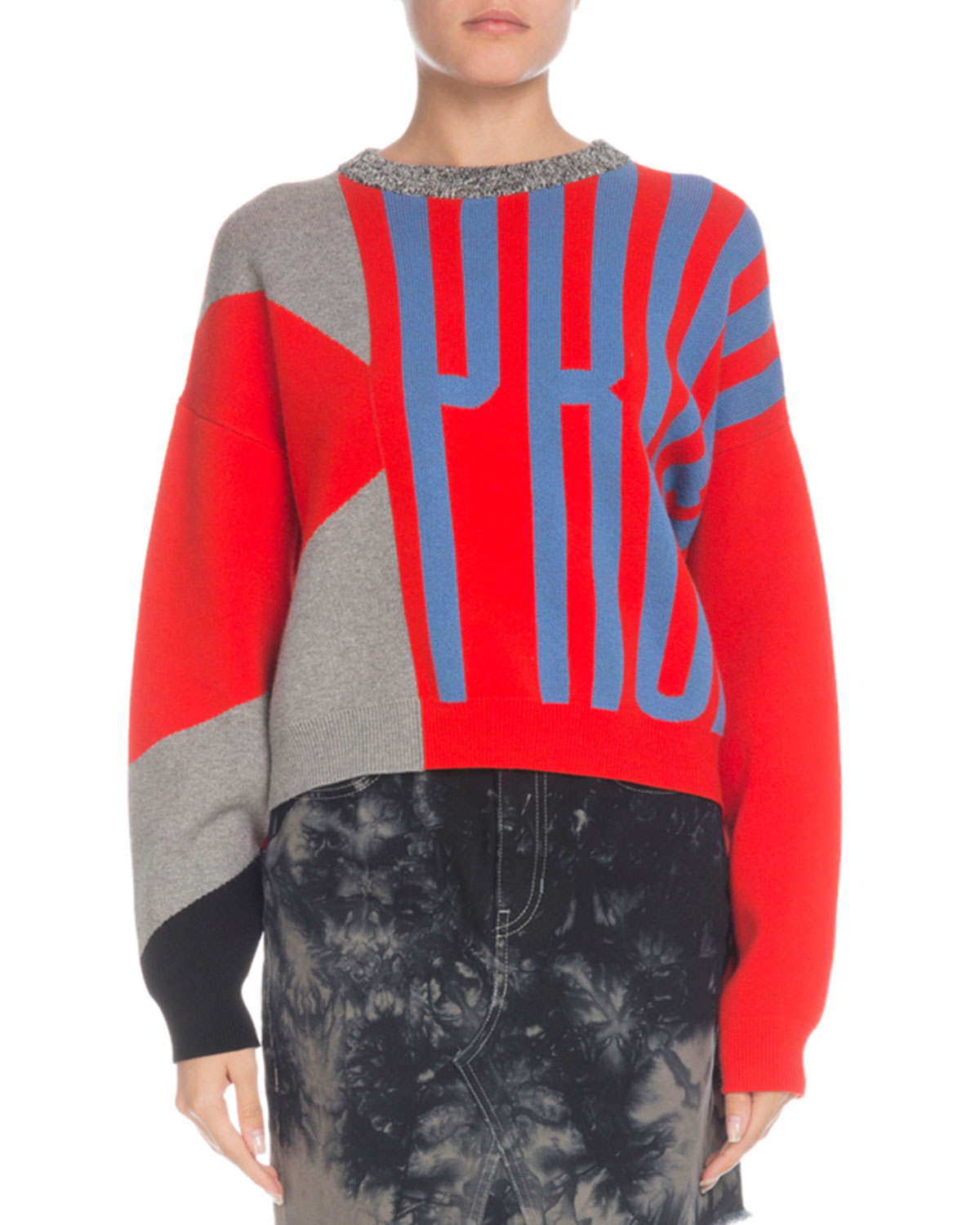 PSWL Knit Logo Colorblock Crewneck Pullover Sweater in Bright Red