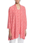 Caroline Rose Petite Rose Garden 3/4-Sleeve Side-Fall Cardigan