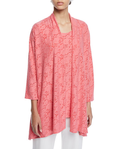 Petite Rose Garden 3/4-Sleeve Side-Fall Cardigan