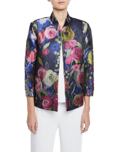 Garden Variety 3/4-Sleeve Floral Jacquard Jacket