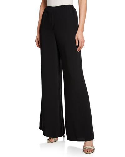 Petite Crepe Suzette Wide-Leg Pull-On Pants