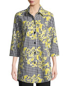 Caroline Rose Hello Yellow Embroidered 3/4-Sleeve Boyfriend Tunic