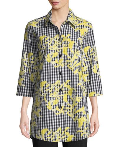 Plus Size Hello Yellow Embroidered 3/4-Sleeve Boyfriend Tunic