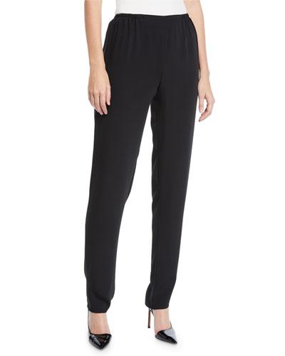 Plus Size Crepe Suzette Pull-On Slim Pants