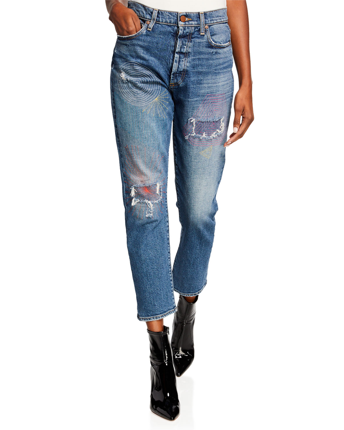 ALICE + OLIVIA JEANS Amazing High-Rise Slim Girlfriend Jeans in Saint And Sinner