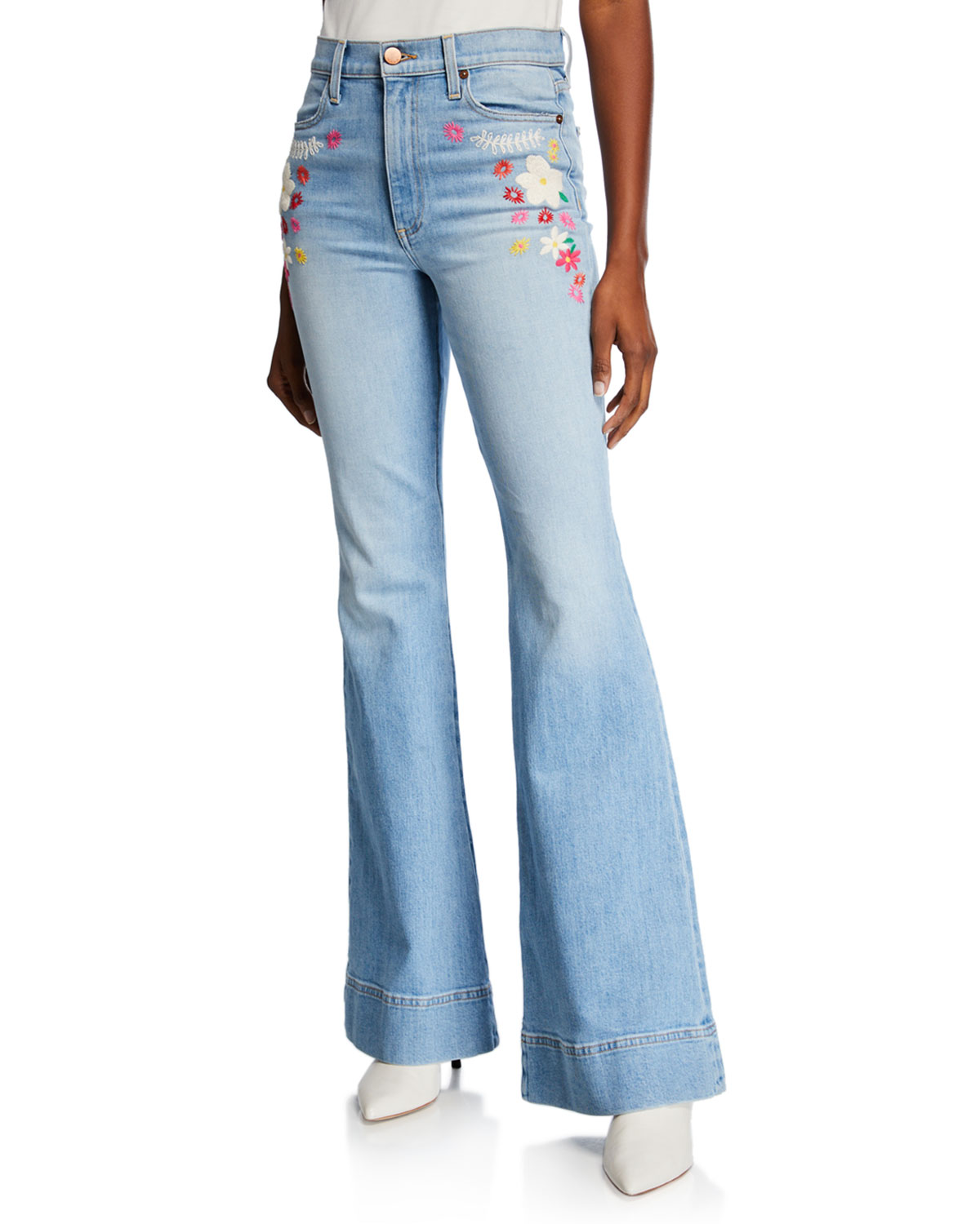 ALICE + OLIVIA JEANS Beautiful High-Rise Bell-Bottom Jeans in Tease Me