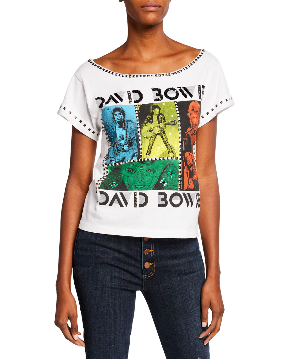 ALICE + OLIVIA JEANS Mikey David Bowie Embellished Wide-Neck Tee With Studs in Multi