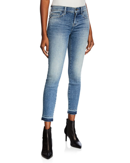 Current/Elliott The Stiletto Frayed-Hem Mid-Rise Jeans