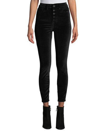 Chrissy High-Rise Velvet Skinny Jeans with Button Fly