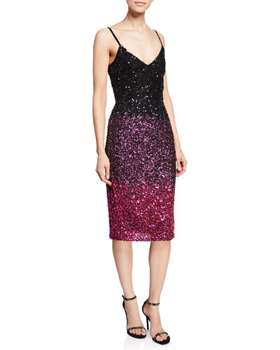 Faith V-Neck Spaghetti-Strap Beaded Ombré Cocktail Dress