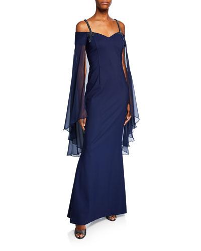 Sweetheart Beaded-Strap Long-Sleeve Chiffon Capelet Illusion Dress