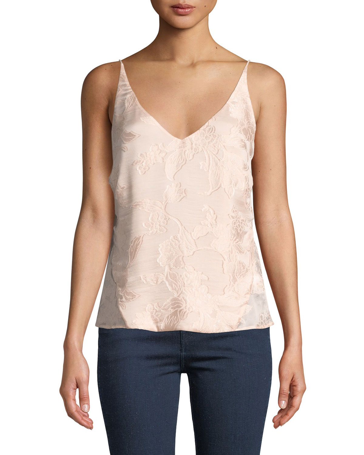 Lucy Floral Jacquard V-Neck Camisole in Lulled