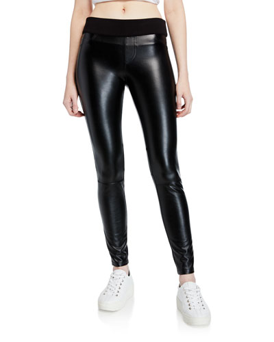 London Faux-Leather Pull-On Pants