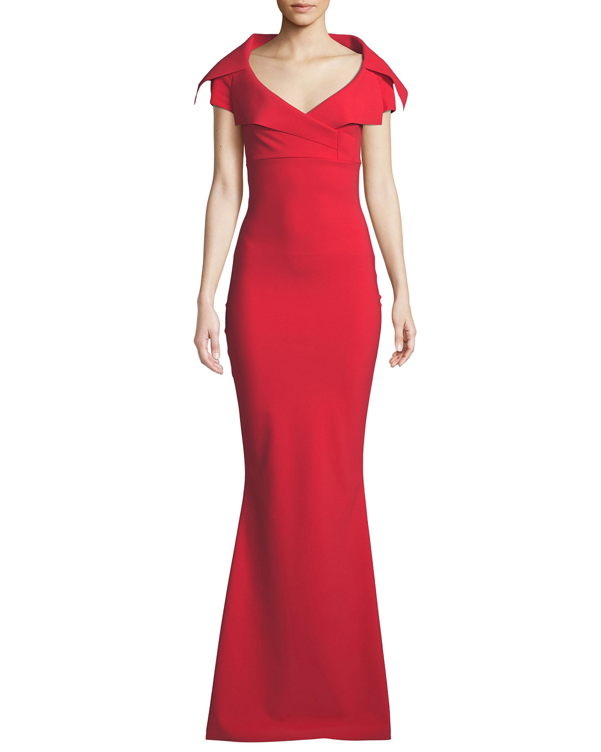 Aurellina Collared Cap-Sleeve Gown in Red