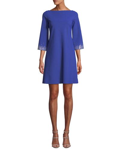 Embellished-Sleeve Mini Dress