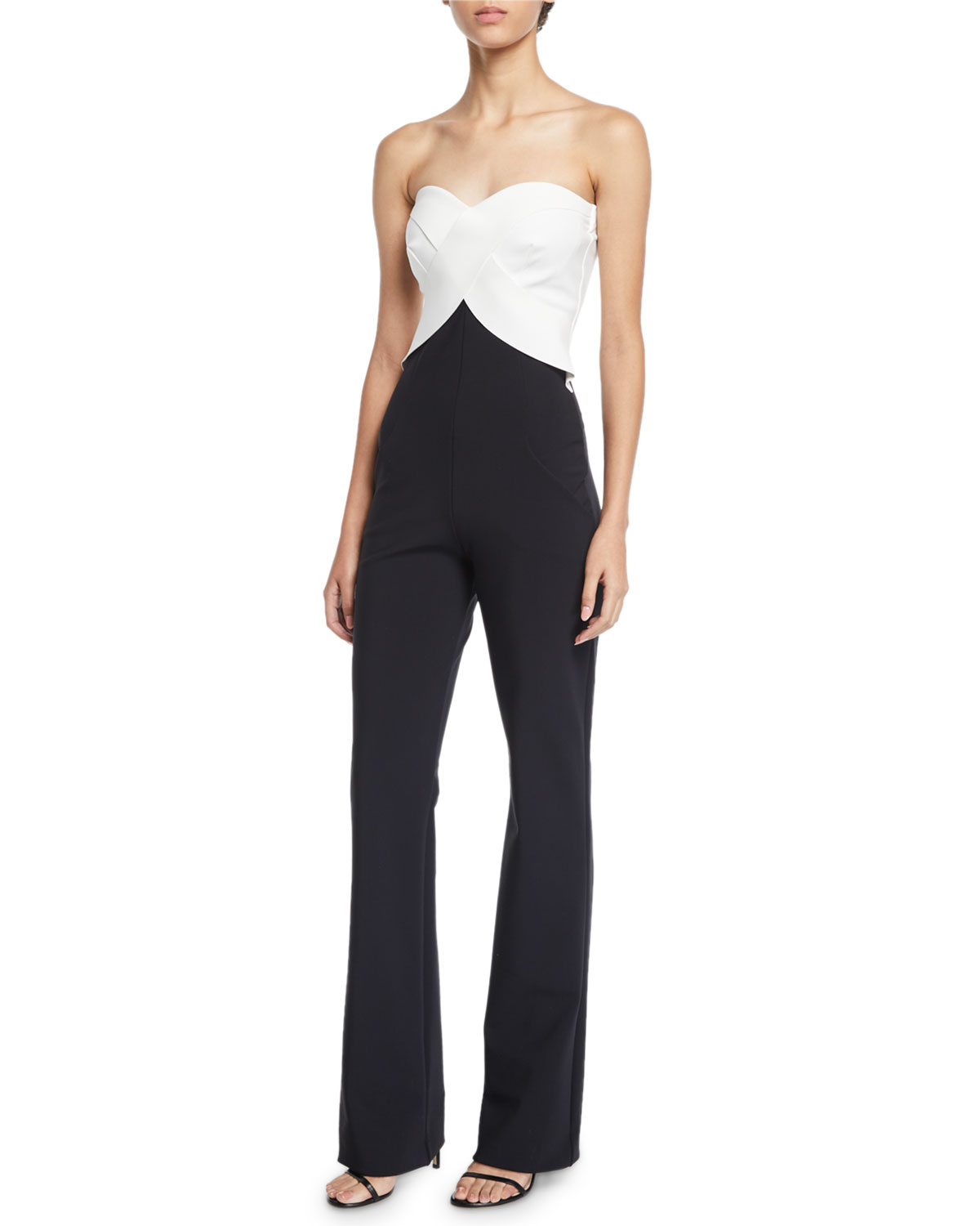 Bodily Strapless Two-Tone Jumpsuit in Black/White