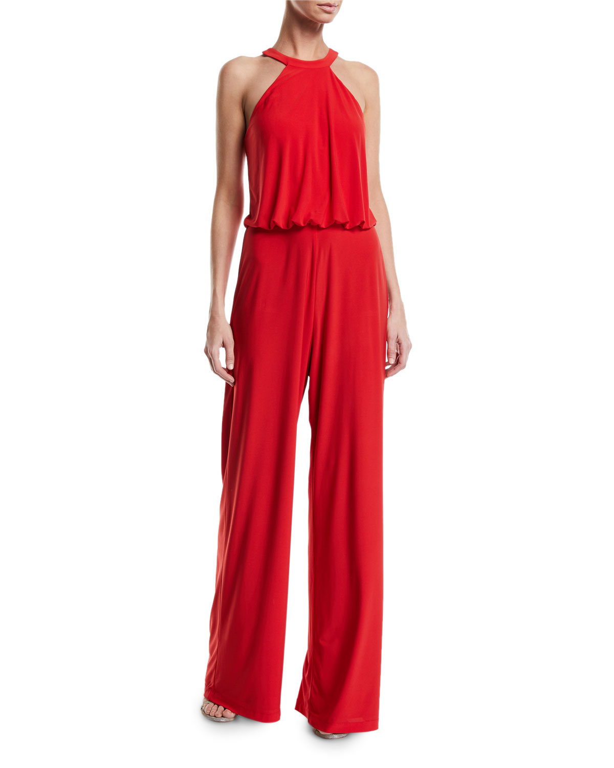 JAY X JAYGODFREY Anselm Halter-Neck Column Gown W/ Keyhole Front in Red