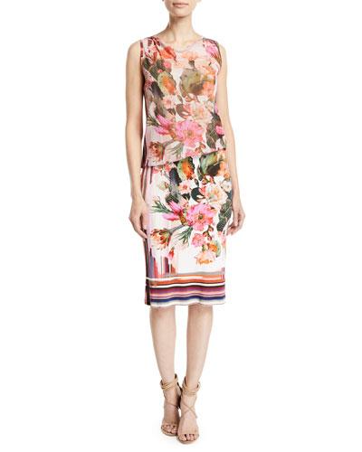 Sleeveless Tulle Top Cactus-Print Jersey Tank Dress