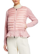 Moncler Puffer-Front Knit Cardigan