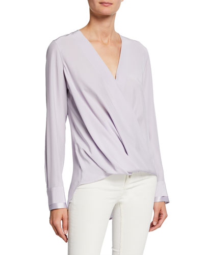 Victor Long-Sleeve Drape-Front Blouse