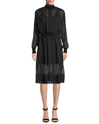 Dinah Silk High-Neck Long-Sleeve Dress