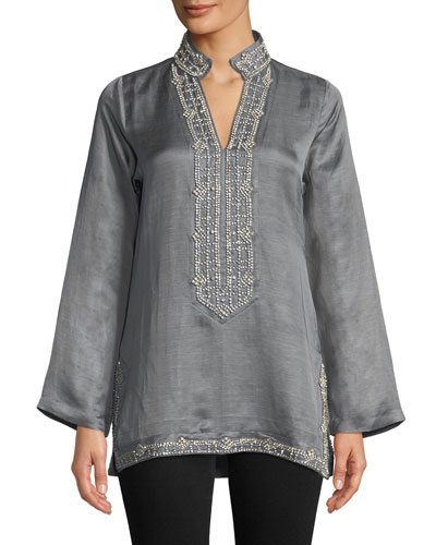 Marilyn Long-Sleeve Crystal Embellished Tunic w/ Mandarin Collar