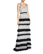 Aijek Hope Sweetheart Sleeveless Scallop Slip Tiered Maxi