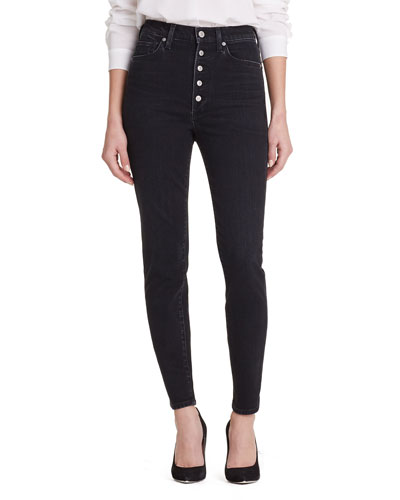 Olivia High-Rise Button-Fly Straight-Leg Jeans