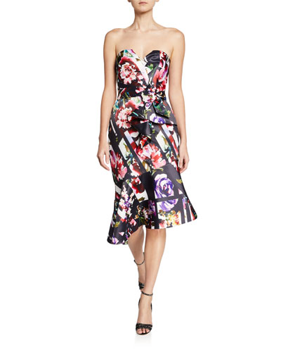Wendy Floral-Print Strapless Asymmetric Satin Dress