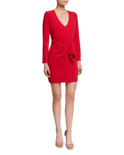 Aggie V-Neck Long-Sleeve Faux-Wrap Dress w/ Flounce Detail