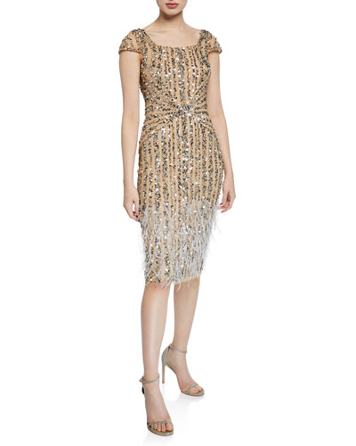 Rosanna Square-Neck Beaded Cocktail Dress w/ Feathers