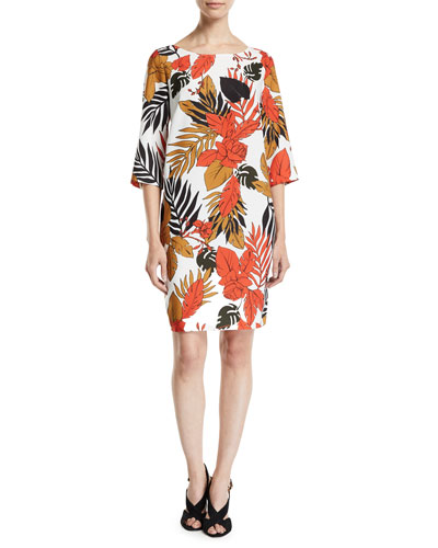 Boat-Neck 3/4-Sleeve Leaf-Print Italian Cady Dress