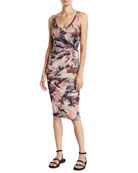 Fuzzi Camouflage Scoop-Neck Fitted Tank Dress
