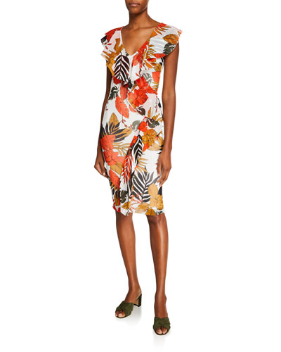 f3dcf0abb66f Quick Look. Fuzzi · Leaf-Print Ruffle V-Neck Fitted Dress